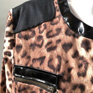 Chico's Leopard and Patent Leather Jacket Sz 4